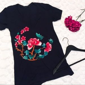Truly Madly Deeply Floral Branch Navy Tee